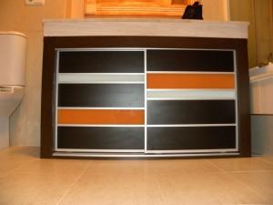 mueble bajo encimera wengue naranja y blanco